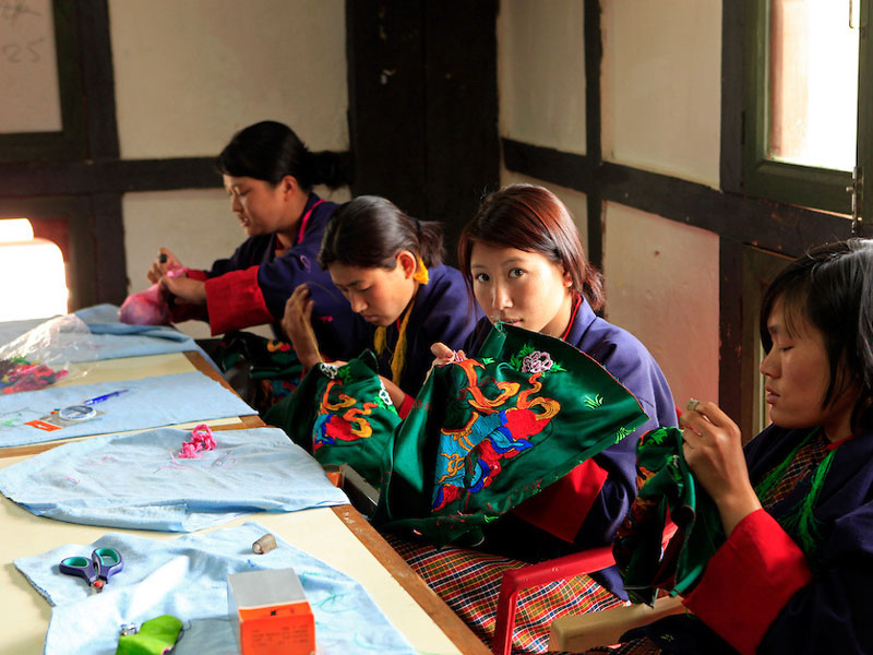 Students in an embroidery class